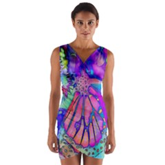 Psychedelic Butterfly Wrap Front Bodycon Dress