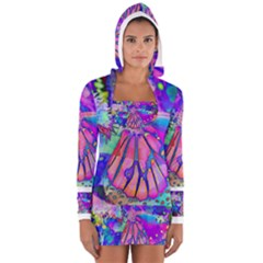Psychedelic Butterfly Women s Long Sleeve Hooded T-shirt