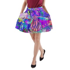 Psychedelic Butterfly A-Line Pocket Skirt