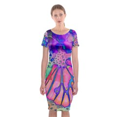 Psychedelic Butterfly Classic Short Sleeve Midi Dress