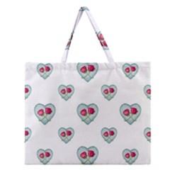 Love Ornate Motif Print Zipper Large Tote Bag