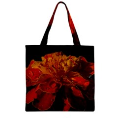 Marigold on Black Zipper Grocery Tote Bag
