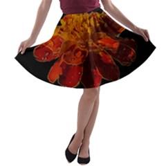 Marigold on Black A-line Skater Skirt