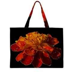 Marigold on Black Large Tote Bag