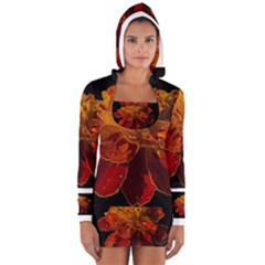 Marigold on Black Women s Long Sleeve Hooded T-shirt