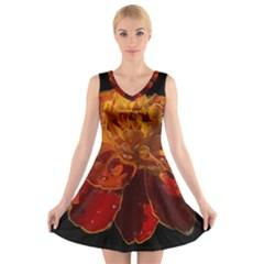 Marigold on Black V-Neck Sleeveless Skater Dress
