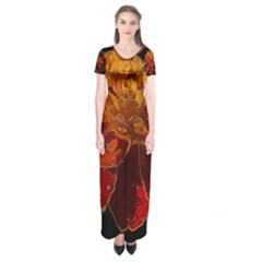 Marigold on Black Short Sleeve Maxi Dress