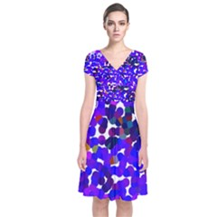 Abstract Land2 11 Short Sleeve Front Wrap Dress