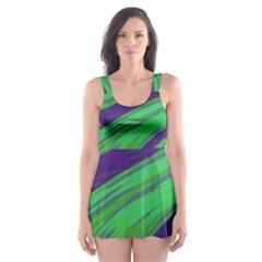 Swish Green Blue Skater Dress Swimsuit