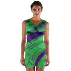 Swish Green Blue Wrap Front Bodycon Dress