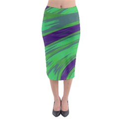 Swish Green Blue Midi Pencil Skirt