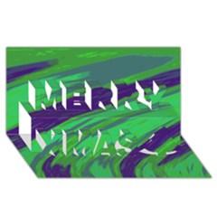 Swish Green Blue Merry Xmas 3D Greeting Card (8x4)