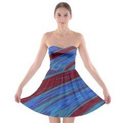 Swish Blue Red Abstract Strapless Dresses