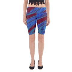Swish Blue Red Abstract Yoga Cropped Leggings