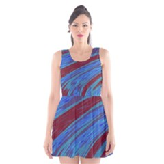 Swish Blue Red Abstract Scoop Neck Skater Dress