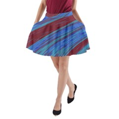 Swish Blue Red Abstract A Line Pocket Skirt