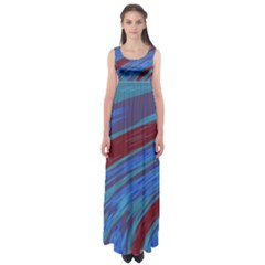 Swish Blue Red Abstract Empire Waist Maxi Dress