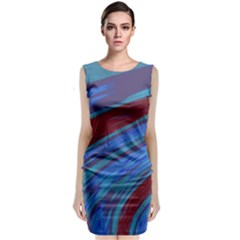 Swish Blue Red Abstract Classic Sleeveless Midi Dress