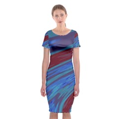 Swish Blue Red Abstract Classic Short Sleeve Midi Dress