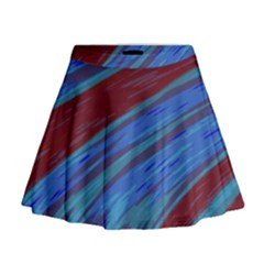 Swish Blue Red Abstract Mini Flare Skirt