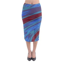 Swish Blue Red Abstract Midi Pencil Skirt