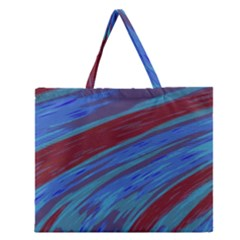 Swish Blue Red Abstract Zipper Large Tote Bag
