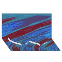 Swish Blue Red Abstract Twin Heart Bottom 3D Greeting Card (8x4)