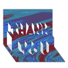 Swish Blue Red Abstract THANK YOU 3D Greeting Card (7x5)