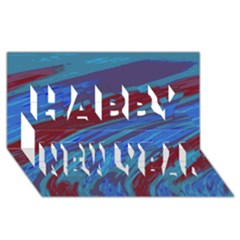 Swish Blue Red Abstract Happy New Year 3D Greeting Card (8x4)