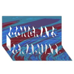 Swish Blue Red Abstract Congrats Graduate 3d Greeting Card (8x4)