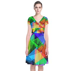 Colorful Triangles                                 Short Sleeve Front Wrap Dress