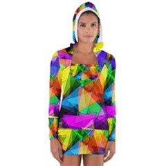 Colorful Triangles                                                                  Women s Long Sleeve Hooded T Shirt