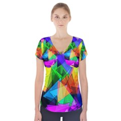 Colorful Triangles   Short Sleeve Front Detail Top