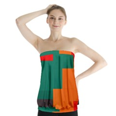 Rectangles And Squares  In Retro Colors    Strapless Top