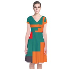Rectangles and squares  in retro colors                                  Short Sleeve Front Wrap Dress
