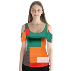 Rectangles and squares  in retro colors    Butterfly Sleeve Cutout Tee