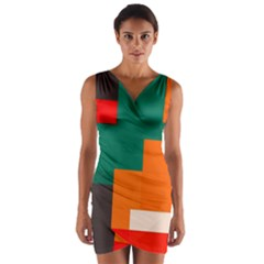 Rectangles and squares  in retro colors    Wrap Front Bodycon Dress