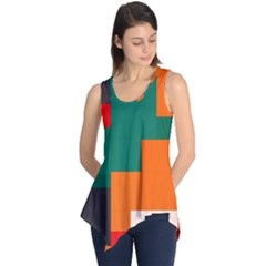Rectangles and squares  in retro colors                                                                   Sleeveless Tunic