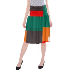 Rectangles and squares  in retro colors       Midi Beach Skirt