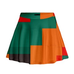 Rectangles and squares  in retro colors                                                                     Mini Flare Skirt