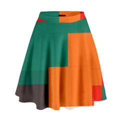 Rectangles And Squares  In Retro Colors                                                                     High Waist Skirt