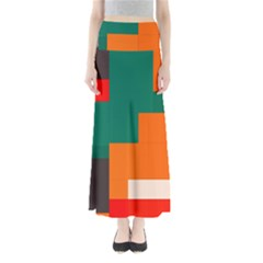 Rectangles and squares  in retro colors                     Women s Maxi Skirt