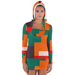 Rectangles And Squares  In Retro Colors                                                                   Women s Long Sleeve Hooded T Shirt