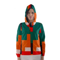 Rectangles and squares  in retro colors                                                                   Hooded Wind Breaker (Women)