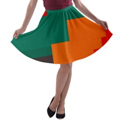 Rectangles and squares  in retro colors                                                                   A-line Skater Skirt