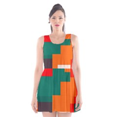 Rectangles And Squares  In Retro Colors                                                                   Scoop Neck Skater Dress