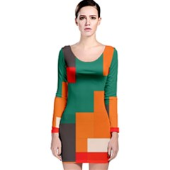 Rectangles And Squares  In Retro Colors                                                                   Long Sleeve Velvet Bodycon Dress