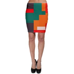 Rectangles and squares  in retro colors                                                                   Bodycon Skirt