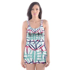 Strokes                                                                    Skater Dress Swimsuit
