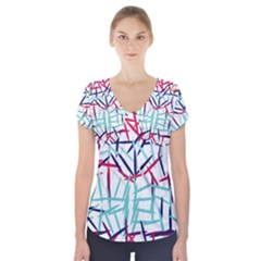 Strokes     Short Sleeve Front Detail Top